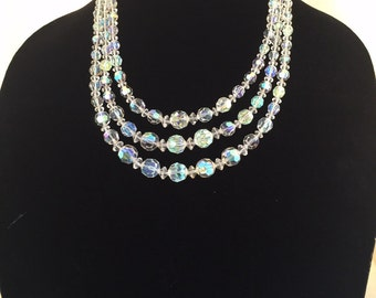 Vintage tiered crystal necklace