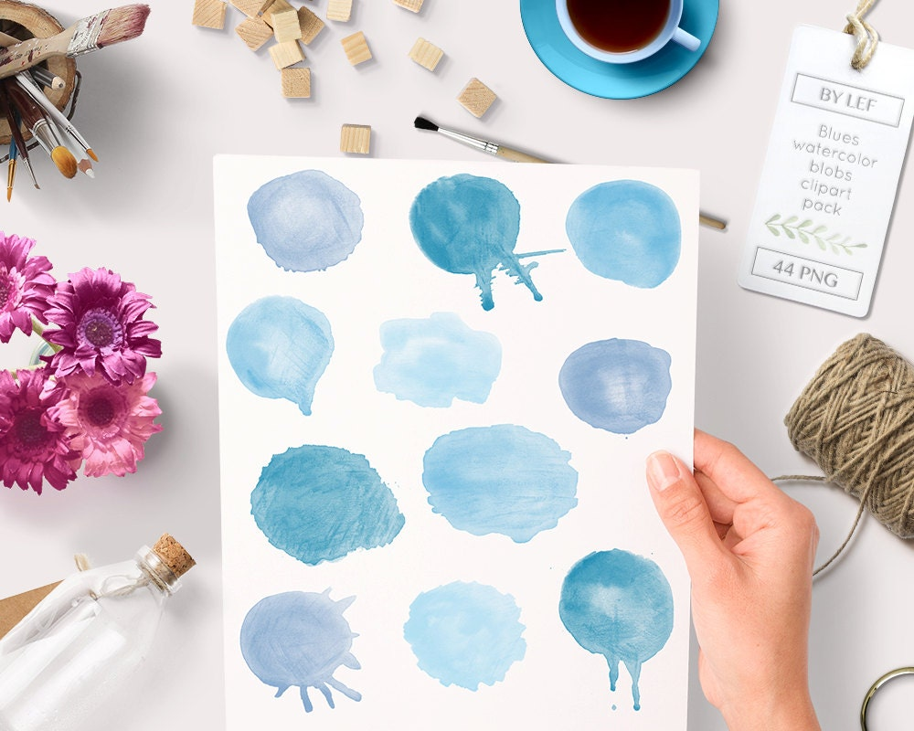handpainted round clip art for blogs digital scrapbooking cards light blue lavender 48 pc Watercolor clipart circles borders and frames
