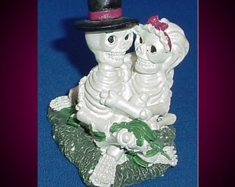 Skeleton Couple Polystone Figurine Day of the Dead 1990s