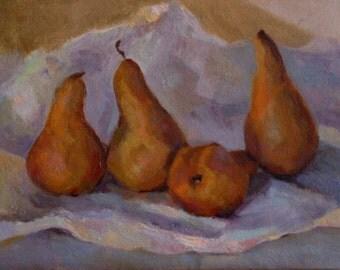Four Pears (Original small oil painting, kitchen art, impressionist still life, orange and purple harmony))