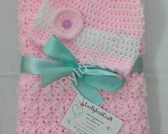 Crochet Baby Blanket, Newborn Baby Girl Crochet Blanket & Hat, Supersoft,handcrafted in Ireland