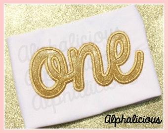 ONE- Cursive Applique Font/Design
