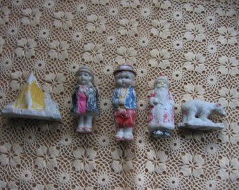 Ceramic People and Santa and Polar Bear with Mountain