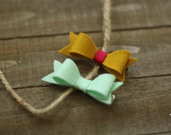 Mint & Mustard Mini Bow Set