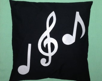 Orchestra - Music Note Novelty Black White Retro Modern Unique Cushion Pillow Cover Felt Applique 14 16 18 20 22 24 inch size