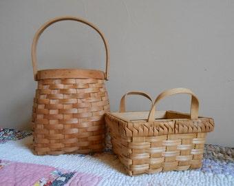 Split Ash/Oak Wood Baskets 2 - Vintage Split Oak/Ash Baskets - Bucket Type Basket and Square Basket