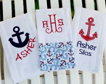Anchors Away Baby!  Set of 3 Baby Burp Cloths For A Little Sailor!