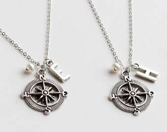 Friendship Necklace, Initial Necklace, Best Friends Jewelry, Compass Necklace, Graduation, boyfriend girlfriend,  bridesmaid jewelry gift