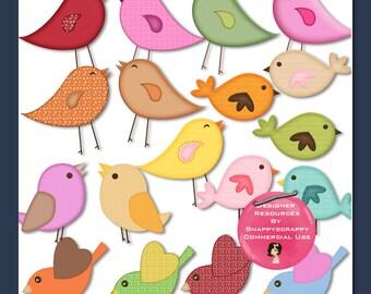 Birds Clipart, Digital Scrap Kits, Clipart, Bird Clipart, Cute Bird Clipart, Scrapbooking, Card Making, Digital Elements, Childrens Clipart,