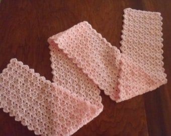 Hand Made Crochet Scarf - Pink