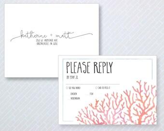 Beach Themed Simple Wedding Reply Card - Beach Coral Response Card - Destination Wedding RSVP