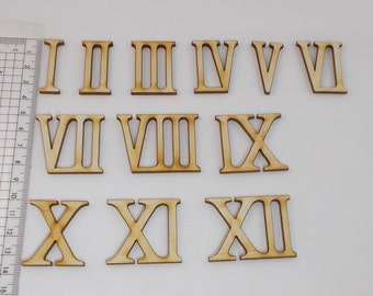 Wooden roman numerals / numerics 35 mm high for handicrafts