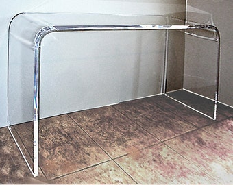 Wonderful Lucite Waterfall Console Table 65L; 16D; 30H; 1 Inch Thick