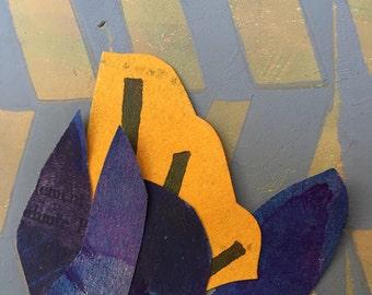 Art card, handmade block print collage card
