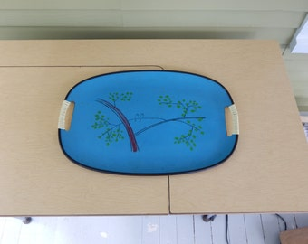 Danish Modern serving tray  -Turquoise oval tray with bird scene.