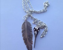 """Antique Silver Raven Crow Skull Bird Feather Totem Pendant Chain 24"""" Necklace"""