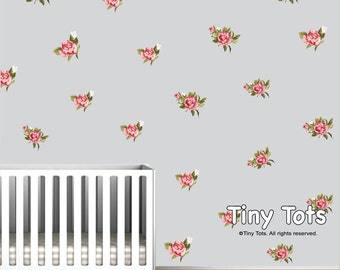 Nursery Wall Decals-Rose Floral Wall Decals Stickers-Shabby Chic Nursery Decor-te06