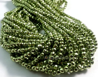 4mm , 13.5 inches Lime Green Pyrite Faceted Beads