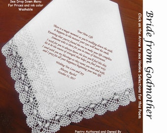 Gift for the Bride Hankie from Her Godmother ~ 0609 Sign & Date Free!  5 Brides Handkerchief Styles and 8 Ink Colors. Brides Hankerchief