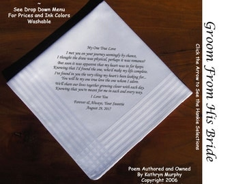Grooms Gift Handkerchief From the Bride 0701 Sign & Date Free  2 Wedding Hankie Styles and 8 Ink Colors. Grooms Handkerchief from Bride