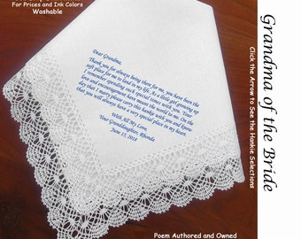 Grandmother Wedding Hankie & sentiment   Sign and Date       #1506       5 Wedding Hankie Styles and 8 Ink Colors.