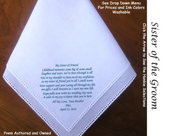 Sister of the Groom Gift Hankie From the Groom 1204 ~ 5 Wedding Hankie Styles ~ Sign & Date for Free! 8 Ink Colors ~ Sister of Groom Hankie