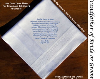Grandpa of the Bride Hankie 1604  Sign & Date For Free! ~ 8 Ink Colors FOG Wedding hankie from the Groom