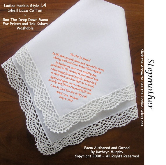 Gift For Stepson On Wedding Day : Hankie Gift for Stepmother of the Groom Hankie 0403 Sign & date for ...