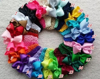 Toddler and infant boutique style hair bow attached to an elastic headband!! On sale! Hair bow bundles!! Hair bow lot!