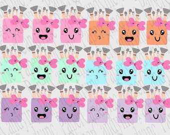 Cute Kawaii makeup brush cleaner reminder Planner printable stickers. PaperCandyinc exclusive