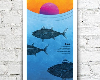 Tuna illustration print – New Zealand native fish series. 2 sizes, limited series.