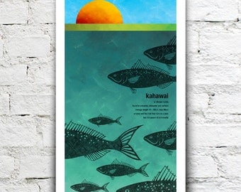 Kahawai illustration print – New Zealand native fish series. 2 sizes, limited series.