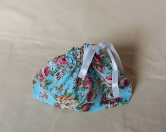 Small knitting bag, organizer, project bag or sock bag, in Cath Kidson style floral fabric