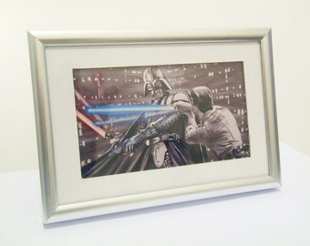 Starwars Vader-Luke framed print.From original Art.Signed.Silver frame 6x4inch
