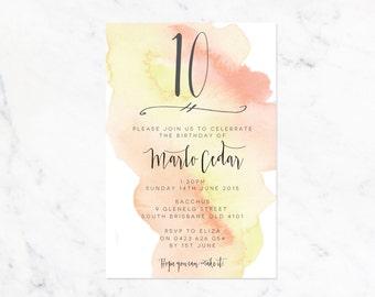 Custom Age Birthday Watercolour Printable Invitation - Yellow/Orange