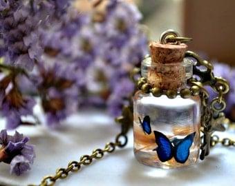 Butterflies in a bottle necklace