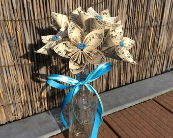 Origami Flower Centerpieces - Vintage Inspired Sheet Music - set of 6