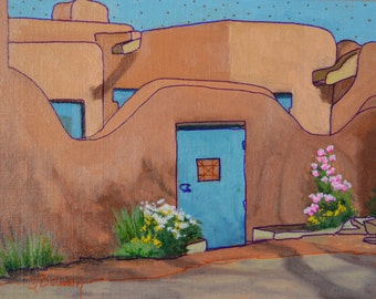 "Original Oil Painting, size 9""x12"", titled ""LeDoux Street Courtyard"""