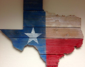 LARGE Texas Flag Hand Painted on Wood Fence Posts in Shape of Texas State