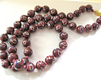 Porcelain beads , 26 inches long, red, white and blue - #146