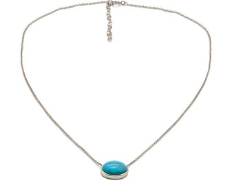 Tousi Jewelers Turquoise Necklace - Solid 14k White Oval Stone for Gift - December Birthstone