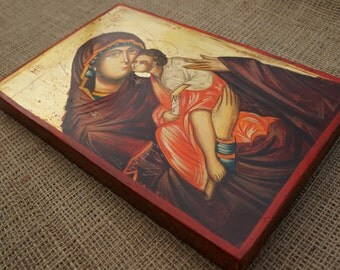 Theotokos Sweet Kissing Handpainted Byzantine Orthodox Icon on Wood 30x20cm