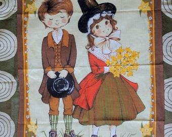 1970s Lovely Boy and Girl Vista Tea Towel / Clive Mayor