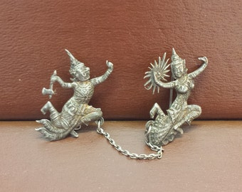 Thiland Sterling Silver Vintage Siam Dancer Pins with connecting Chain