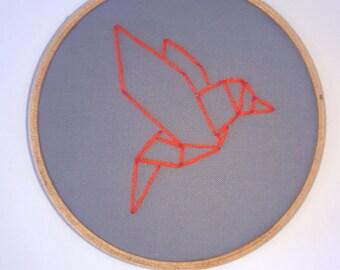 Origami hummingbird embroidery hoop