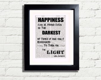 Harry Potter Albus Dumbledore Happiness Quote Art Print INSTANT DIGITAL DOWNLOAD Prinable A4 Pdf Jpeg fun Artwork Wall Hanging  Ideal Gift