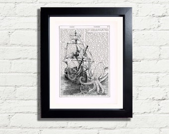 Steampunk Old Nautical Sea Scene The Kraken Wall Art Print Vintage Dictionary Style INSTANT DIGITAL DOWNLOAD Printable Picture Bathroom Idea