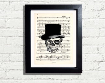 Skull in Top Hat Fun Art Print Picture A4 INSTANT DIGITAL DOWNLOAD Printable Pdf Jpeg Wall Hanging Home Decor Music quirky Gift Idea