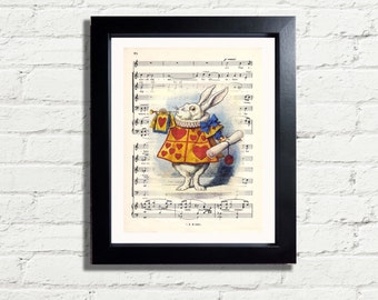 Alice In Wonderland White Rabbit Blows His Horn INSTANT DIGITAL DOWNLOAD A4 Pdf or Jpeg Printable Artwork Wall Hanging Home Decor Gift Idea