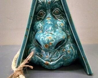 Lotus Blossom Gnome Birdhouse--Hand-Painted--Glazed Ceramic Bisque--Home-Patio-Garden Decor--Seasonal-Year Round Usage